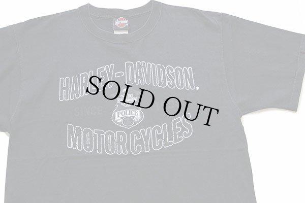 画像1: 00s USA製 HARLEY-DAVIDSON ハーレー ダビッドソン POLICE 1 両面プリント コットンTシャツ 黒 L