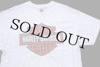 00s USA製 Hanes HARLEY-DAVIDSON ハーレー ダビッドソン ロゴ 両面プリント ショート丈 コットンTシャツ カスタム 白 L