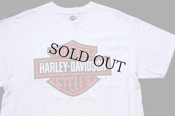 画像1: 00s USA製 Hanes HARLEY-DAVIDSON ハーレー ダビッドソン ロゴ 両面プリント ショート丈 コットンTシャツ カスタム 白 L