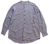 90s CELLINI バンドカラー 織り柄 リネン×コットンシャツ L