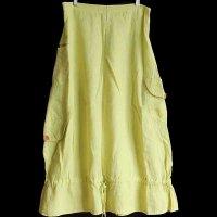 90s リトアニア製 FLAX 無地 マキシ丈 リネン スカート 薄黄 S