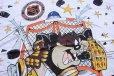 画像3:  デッドストック★90s USA製 NHL ST.LOUIS BLUES タズマニアンデビル 両面 染み込みプリント コットンTシャツ 白 L (3)