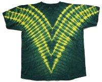 90s USA製 V字 タイダイ染め コットンTシャツ 緑 XL
