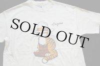 80s USA製 Hanes Arizona ネコ ウエスタン アート コットンTシャツ クリーム L