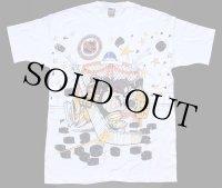 デッドストック★90s USA製 NHL ST.LOUIS BLUES タズマニアンデビル 両面 染み込みプリント コットンTシャツ 白 L