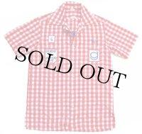 70s GILMORE Foyt RACING チェーン刺繍&パッチ付き チェック 半袖 コットンシャツ 赤×白