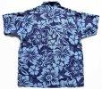 画像2: 80s USA製 STUSSYステューシー ハイビスカス 総柄 半袖 コットンシャツ M (2)
