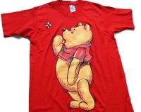 90s USA製 Disneyディズニー Pooh クマのプーさん コットンTシャツ 赤 M