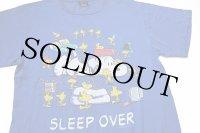 90s USA製 スヌーピー ウッドストック SLEEP OVER コットンTシャツ 青 L