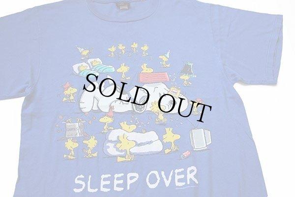 画像1: 90s USA製 スヌーピー ウッドストック SLEEP OVER コットンTシャツ 青 L