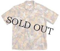 90s ハワイ製 Norm Thompson リーフ柄 アート 半袖 コットンシャツ L