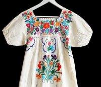 メキシコ 花柄刺繍 マキシ丈 コットン チュニック ワンピース 生成り