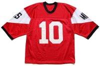 90s MHS 10 ナンバリング マルチカラー 切り替え ナイロン メッシュ ゲームシャツ 赤×白×黒