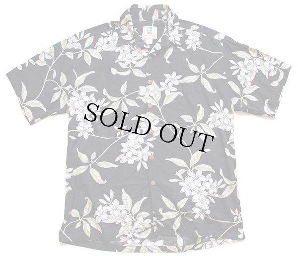 画像1: ハワイ製 KAHALA プルメリア柄 コットン アロハシャツ 黒 L