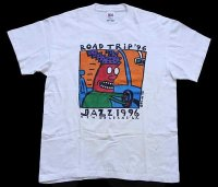 90s USA製 ROAD TRIP JAZZ 1996 両面プリント アート コットンTシャツ ボロ 白 L