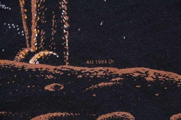 画像4: 90s USA製 ウルフ オールオーバープリント アート コットンTシャツ 黒 L