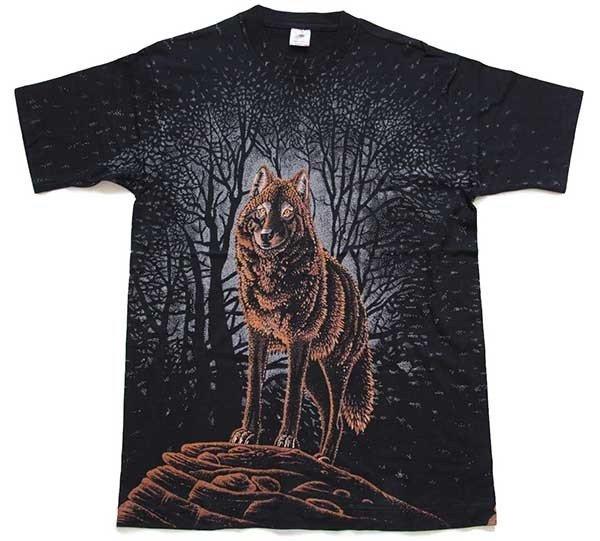 画像1: 90s USA製 ウルフ オールオーバープリント アート コットンTシャツ 黒 L