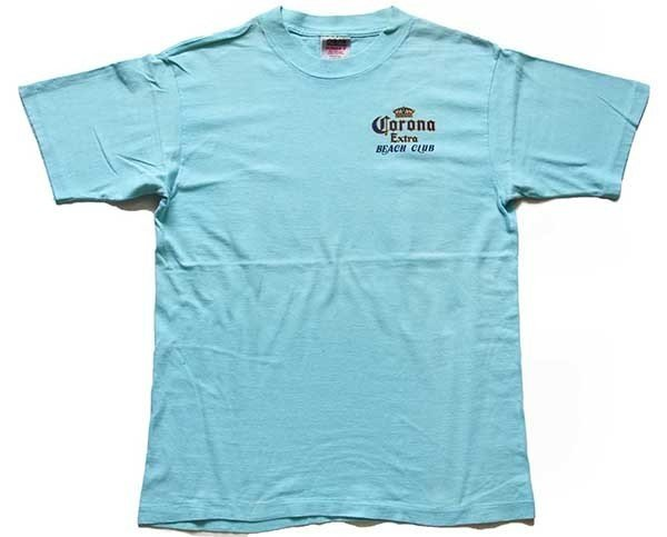 画像2: 90s USA製 Corona Extra BEACH CLUB ロゴ 発泡プリント コットンTシャツ 水色 L