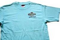 90s USA製 Corona Extra BEACH CLUB ロゴ 発泡プリント コットンTシャツ 水色 L