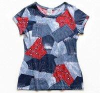 70s fashion frocks デニム×バンダナ柄 パッチワークプリント Tシャツ M