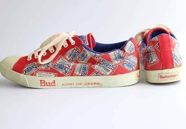 画像2: 80s Budweiserバドワイザー Bud KING OF BEERS 総柄 サイドテープ キャンバス スニーカー 8.5