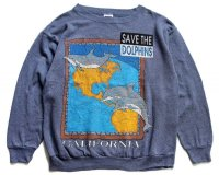 90s USA製 SAVE THE DOLPHINS CALIFORNIA 発泡プリント アート スウェット 杢ブルーグレー XL