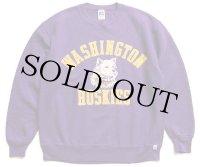 90s USA製 RUSSELLラッセル WASHINGTON HUSKIES 発泡プリント 前V スウェット 紫 L
