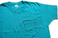90s USA製 FRUIT OF THE LOOM 無地 コットン ポケットTシャツ ターコイズ XL