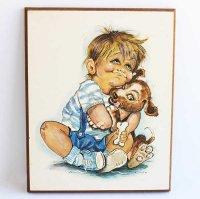 K.SMITH 少年 子犬 ペイント ウォールデコ