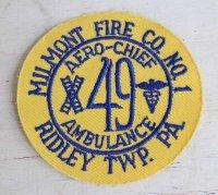 デッドストック★ビンテージ AERO-CHIEF AMBULANCE 49 MILMONT FIRE CO NO 1 RIDLEY TWP PA パッチ★ワッペン