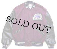 90s USA製 DeLONGデロング MLB ROCKIES パッチ付き キルティングライナー メルトン ウール 袖革スタジャン 紫×黒L