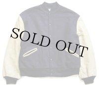 80s USA製 TROPHY JACKETS キルティングライナー メルトン ウール 袖革スタジャン 紺×ベージュ XL