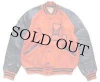 60s DeLONGデロング パッチ付き メルトン ウール 袖革スタジャン オレンジ×黒 44