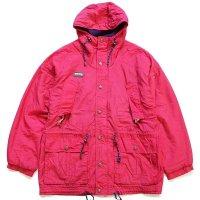 90s Columbiaコロンビア 総柄 フリースライナー 中綿入り ナイロン マウンテンパーカー 赤紫 M