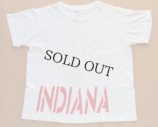 画像1: 80s USA製 Championチャンピオン INDIANA 両面 染み込みプリント コットン ポケットTシャツ 白 L