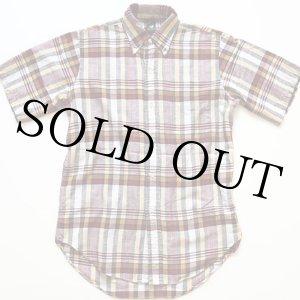 画像: 60s KENTFIELD マドラスチェック 三点留め ボタンダウン 半袖 コットンシャツ S