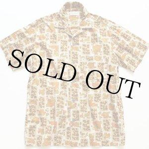 画像: 70s USA製 Jantzen 総柄 半袖コットンシャツ M