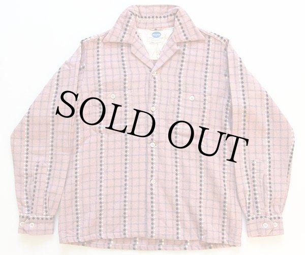 画像1: 50s SEARS PILGRIMピルグリム ドット柄 ウールシャツ ピンク×黒 S (1)