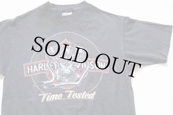 画像1: 80s USA製 Hanes HARLEY-DAVIDSONハーレー ダビッドソン ロゴ コットンTシャツ 墨黒 L (1)