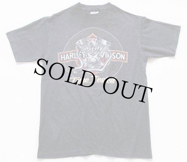 画像2: 80s USA製 Hanes HARLEY-DAVIDSONハーレー ダビッドソン ロゴ コットンTシャツ 墨黒 L (2)