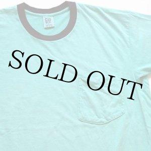 画像: 90s USA製 GAPギャップ コットン ポケットTシャツ 後染め エメラルドグリーン S